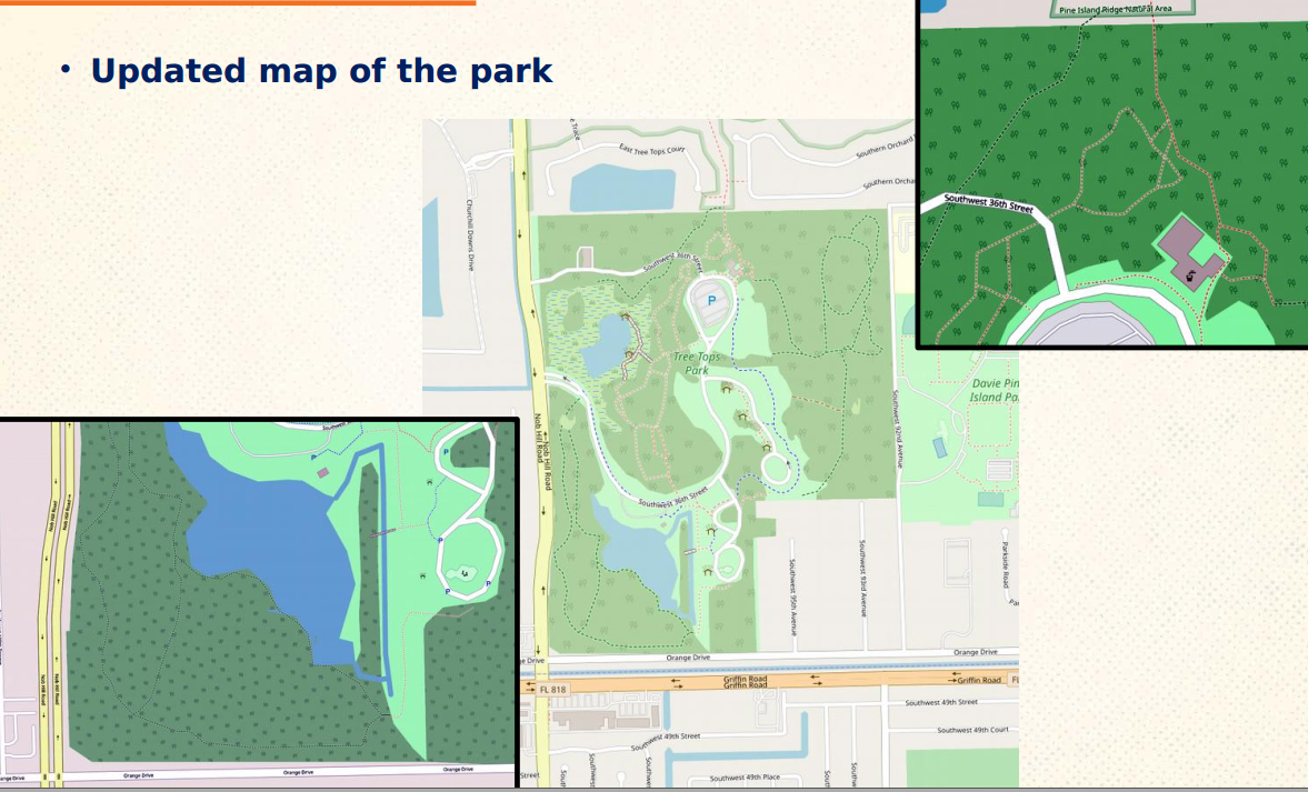 Our efforts mapping added new trails and features to Tree Tops Park on openstreetmaps.org